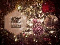Vrolijke Kerstmis en Gelukkig Nieuwjaar 2017 Royalty-vrije Stock Afbeeldingen