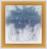 Vrolijke Kerstmis en Gelukkig Nieuwjaar berijpt venster vector illustratie
