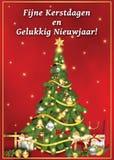 Vrolijke Kerstmis en Gelukkig Nieuwjaar! collectieve voor het drukken geschikte groetkaart Stock Afbeelding