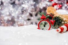 Vrolijke Kerstmis en Gelukkig Nieuwjaar, concept en idee voor decorat Stock Afbeeldingen
