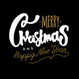 Vrolijke Kerstmis en Gelukkig Nieuwjaar De hand trekt het van letters voorzien Uitstekende retro geweven royalty-vrije stock fotografie