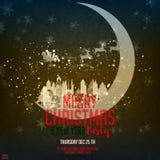 Vrolijke Kerstmis en Gelukkig Nieuwjaar De illustratie met de maan en de middeleeuwse stad en Santa Claus op schitteren nachtheme royalty-vrije illustratie