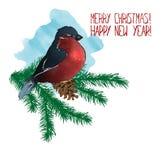 Vrolijke Kerstmis en Gelukkig Nieuwjaar De kaart van de groet Stock Afbeeldingen