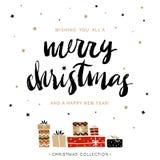 Vrolijke Kerstmis en Gelukkig Nieuwjaar De Kerstman op een slee Royalty-vrije Stock Afbeelding
