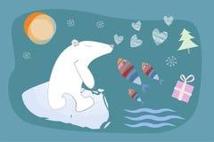 Vrolijke Kerstmis en Gelukkig Nieuwjaar Een ijsbeer op een ijsijsschol, harten, vissen, een gift en een Kerstboom Golven en zon Royalty-vrije Stock Afbeeldingen