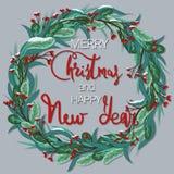 Vrolijke Kerstmis en Gelukkig Nieuwjaar Feestelijke kroon met snow-covered bessen vector illustratie