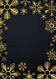 Vrolijke Kerstmis en Gelukkig Nieuwjaar Glodsneeuwvlokken Vector illustratie Royalty-vrije Stock Foto