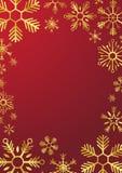 Vrolijke Kerstmis en Gelukkig Nieuwjaar Glodsneeuwvlokken Vector illustratie Royalty-vrije Stock Afbeelding