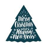Vrolijke Kerstmis en Gelukkig Nieuwjaar Het met de hand geschreven van letters voorzien, kalligrafie vectorillustratie royalty-vrije illustratie