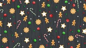 Vrolijke Kerstmis en Gelukkig Nieuwjaar horizontale Backgr ound De winter traditionele snoepjes op een houten zwarte lijst Voor W vector illustratie