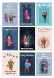 Vrolijke Kerstmis en Gelukkig Nieuwjaar, kaartmalplaatje met mensenkarakters, mannen en vrouwen in de winterkleren, retro tendens vector illustratie