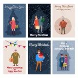 Vrolijke Kerstmis en Gelukkig Nieuwjaar, kaartmalplaatje met mensenkarakters, mannen en vrouwen in de winterkleren, retro tendens stock illustratie