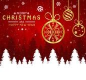 Vrolijke Kerstmis en Gelukkig Nieuwjaar Kerstmisbal gouden op rode achtergrond stock illustratie