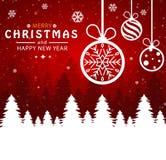 Vrolijke Kerstmis en Gelukkig Nieuwjaar Kerstmisbal op rode achtergrond vector illustratie