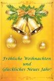 Vrolijke Kerstmis en Gelukkig Nieuwjaar - klassieke groetkaart met Duitse teksten stock illustratie