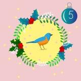 Vrolijke Kerstmis en Gelukkig Nieuwjaar Kleurrijke Kerstmis Advent Calendar, Aftelprocedure Stock Fotografie