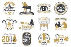 Vrolijke Kerstmis en Gelukkig Nieuwjaar 2018 malplaatje royalty-vrije illustratie