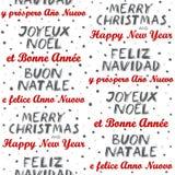 Vrolijke Kerstmis en Gelukkig Nieuwjaar meertalig naadloos patroon op wit Stock Afbeeldingen