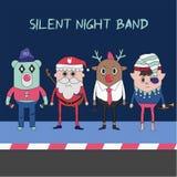 Vrolijke Kerstmis en Gelukkig Nieuwjaar met Rendier, Kerstman en coll stock illustratie