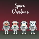 Vrolijke Kerstmis en Gelukkig Nieuwjaar met Rendier, Kerstman en coll royalty-vrije illustratie
