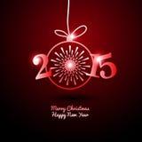 2015 Vrolijke Kerstmis en Gelukkig Nieuwjaar met Vuurwerk Stock Fotografie