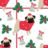 Vrolijke Kerstmis en Gelukkig Nieuwjaar Naadloos patroon met pug royalty-vrije illustratie