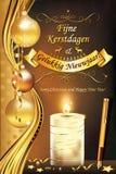Vrolijke Kerstmis en Gelukkig Nieuwjaar in Nederlandse taal Royalty-vrije Stock Foto's