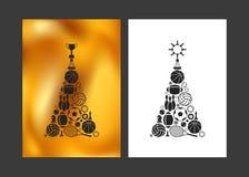 Vrolijke Kerstmis en Gelukkig Nieuwjaar Ongebruikelijke Kerstmisboom vector illustratie
