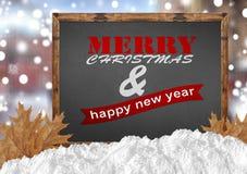Vrolijke Kerstmis en Gelukkig Nieuwjaar op bord met blurrachtergrond Royalty-vrije Stock Afbeeldingen