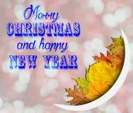 Vrolijke Kerstmis en Gelukkig Nieuwjaar op roze bokehachtergrond met Royalty-vrije Stock Fotografie