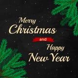 Vrolijke Kerstmis en Gelukkig Nieuwjaar 2017 op zwarte chalfraad Stock Foto