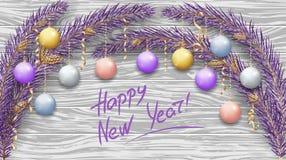 Vrolijke Kerstmis en Gelukkig Nieuwjaar 2019 Purpere takken van een Kerstboom in de sneeuw De vakantiedecoratie van het nieuwjaar royalty-vrije illustratie