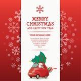 Vrolijke Kerstmis en Gelukkig Nieuwjaar Rad Car Stock Afbeeldingen
