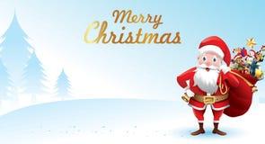 Vrolijke Kerstmis en Gelukkig Nieuwjaar Santa Claus golft met een zak van giften in de scène van de Kerstmissneeuw vectorillustra stock illustratie