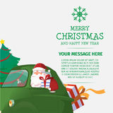 Vrolijke Kerstmis en Gelukkig Nieuwjaar Santa Drive Car Stock Foto