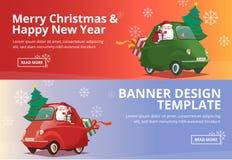 Vrolijke Kerstmis en Gelukkig Nieuwjaar Santa Drive Car Banner Design Royalty-vrije Stock Foto's