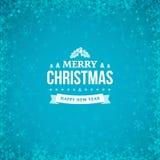 Vrolijke Kerstmis en Gelukkig Nieuwjaar uitstekend kenteken op de abstracte blauwe de winterachtergrond met kader van verspreide  Royalty-vrije Stock Afbeeldingen