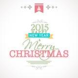 Vrolijke Kerstmis en Gelukkig Nieuwjaar 2015 vieringenconcept Royalty-vrije Stock Afbeeldingen