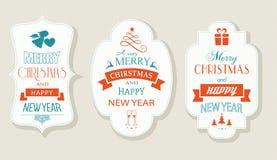 Vrolijke Kerstmis en Gelukkig Nieuwjaar, Vlakke etiketreeks Stock Afbeeldingen