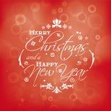 Vrolijke Kerstmis en Gelukkig Nieuwjaarskaartontwerp met bokeheffect Stock Afbeeldingen