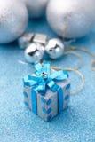 Vrolijke Kerstmis en Gelukkige de giftreeksen van de Nieuwjaar blauwe doos jpg Royalty-vrije Stock Afbeelding