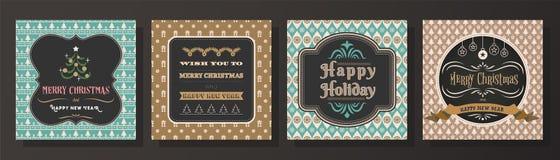 Vrolijke Kerstmis en Gelukkige de groetkaart van het Nieuwjaar Royalty-vrije Stock Afbeelding