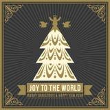 Vrolijke Kerstmis en Gelukkige de groetkaart van het Nieuwjaar Stock Foto's