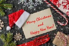 Vrolijke Kerstmis en Gelukkige de groetkaart van het Nieuwjaar royalty-vrije stock afbeeldingen
