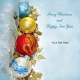 Vrolijke Kerstmis en Gelukkige de groetkaart van het Nieuwjaar Stock Fotografie