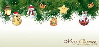 Vrolijke Kerstmis en Gelukkige de groetkaart van het Nieuwjaar Stock Illustratie