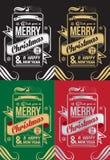 Vrolijke Kerstmis en Gelukkige de groetkaart van het Nieuwjaar Stock Afbeeldingen