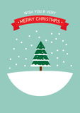 Vrolijke Kerstmis en Gelukkige de groetkaart van het Nieuwjaar Stock Foto