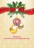 Vrolijke Kerstmis en Gelukkige de groetkaart van het Nieuwjaar Royalty-vrije Stock Fotografie