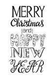 Vrolijke Kerstmis en Gelukkige de groetkaart van het Nieuwjaar Vector illustratie Royalty-vrije Stock Foto's
